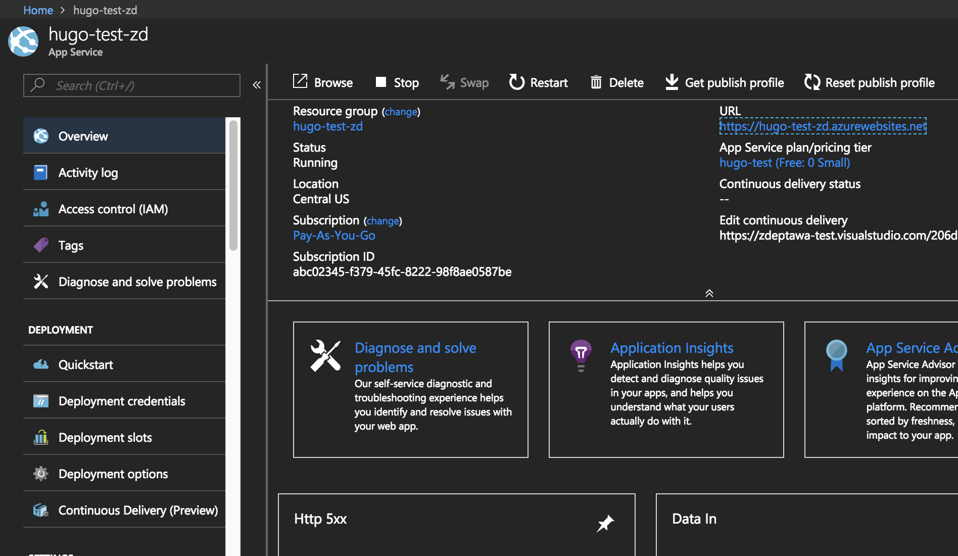Running Hugo on Azure App Services with VSTS